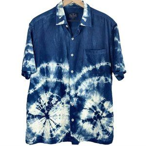 Nat Nast Luxury Short Sleeve Tie Dye Silk Shirt M